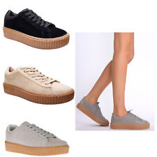Womens Ladies Chunky Patform Sole Suede Lace Up Trainers Plimsoll Creepers Shoes