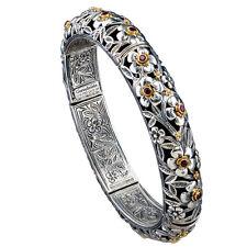 Gerochristo 6202 ~ Solid Gold, Sterling Silver & Rubies Bangle Bracelet