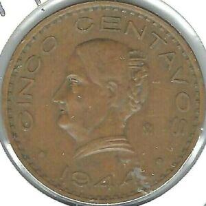 1944 Mexico Circulated Five Centavo Coin