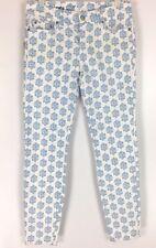 Vineyard Vines Womens Skinny Jeans Medallion Print Blue Jay White Size 0 NWT