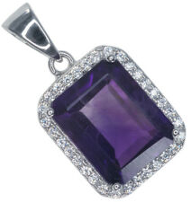 Amethyst Gemstone Baguette Sparkling Sterling Silver Pendant + Chain