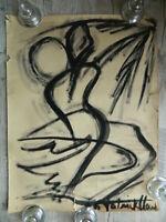 Pittura Guazzo Monocromatica Disegno a Colpo Moderna Astratto Firmato Artista