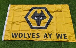 WOLVES - Wolverhampton Wanderers Large Football 5ft x 3ft Flag Wolves AY WE