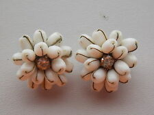 Glorious & Unusual Milk Glass & Diamante Clip On Earrings