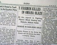 MILLARD HOTEL FIRE Omaha Nebraska Firemen Firefighters DISASTER 1933 Newspaper