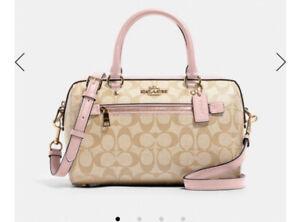 Coach F83607 Rowan Signature Leather Brown Pink Medium Satchel Handbag Purse Bag