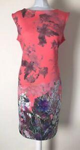 PER UNA Coral Pink Floral Body Con Wiggle Dress UK 16