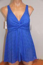 New Swim Solutions Swimsuit 1 one piece Plus Size 22W Crochet Flyaway dress BLU
