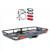 ROLA Basket-Style Cargo Carrier Trailer Hitch Mount & 10 Diode LED Light Kit