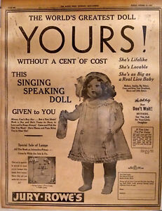 1938 Vintage Newspaper Full Page Ad Life Size Singing Doll Doll Lady Jury-Rowe
