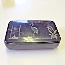 Antique Snuff Box Paper Mache Heron Georgian Victorian Black Lacquered Tobacco