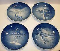 """4 B&G Bing & Grondahl Denmark blue christmas Plates 1972 1973 1974 1975 7.25"""""""
