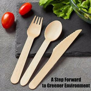 60 Pcs Eco-Friendly Disposable Wooden Cutlery Set Forks Knives Spoons 20 EACH