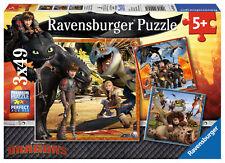 3 x 49 Teile Ravensburger Kinder Puzzle Dragons Drachenreiter 09258
