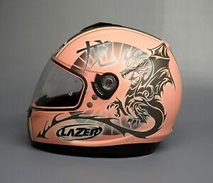 Pink Lazer Motorbike Helmet with Dragon Design - Size XS