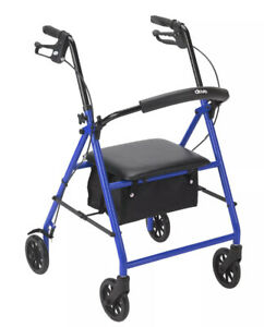 """New Drive Rollator with 6"""" Casters Padded Sear Loop Locks Blue Frame R800BL"""