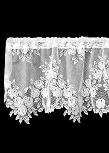 "Heritage Lace White TEA ROSE Window Valance 60""x17"" - Made in USA!"