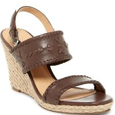 0504e690920c Jack Rogers Vanessa Wedge Sandals Espadrilles Womens 7 Brown Leather NEW   158