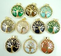 Tree Of Life Locket Natural Gemstone Mix agates Opal Retro Gold Pendant 10PC