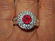 AFRICAN RUBY & NATURAL WHITE CAMBODIAN ZIRCON RING-SIZE R-4.750CTS