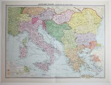 1920 LARGE MAP SOUTH-EAST EUROPE PEACE TERMS BULGARIA GREECE ITALY HUNGARY