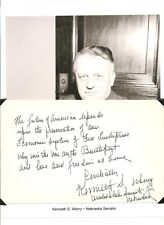 Kenneth Wherry Autograph Senator Nebraska Senate Minority Leader Party Whip