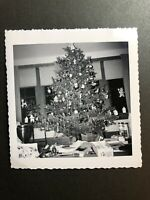 Vintage Christmas Tree Photo MCM Tinsel Atomic Ornaments Presents