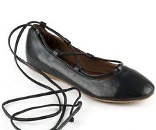 Bueno Ballet Flats with Laces, Black Leather 36, Party or Prom, Brand New
