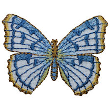 """Blue Butterfly Applique Patch - Insect, Bug Badge 2"""" (Iron on)"""