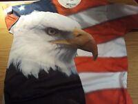 Get A Life Brand Eagle/Patriotic/America 100% Polyester T-Shirt Men's 2X/XXL
