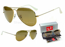 RAY BAN AVIATOR UNISEX SUNGLASSES GOLD CRYSTAL BROWN SILVER MIRROR 3025 001 3K