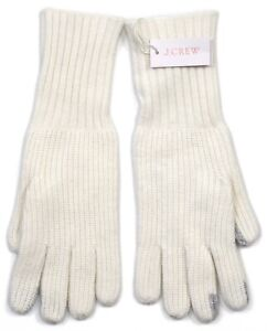 *NEW* J.Crew Women's Ribbed Wool-Blend Gloves in Antique White - One Size *NWT*