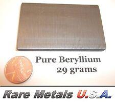 BERYLLIUM: 29 GRAMS PURE 99.9% | ELEMENT SAMPLE .999 X-RAY BAR | RARE METALS USA