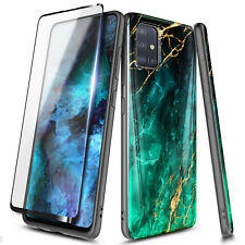 For Samsung Galaxy A51 Marble Case Slim Shockproof Soft Cover + Tempered Glass