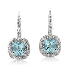 925 Sterling Silver Blue Topaz & White Topaz Cushion-cut Leverback Earrings