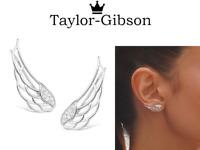 925 Sterling Silver Angel wings earrings climbers studs stunning
