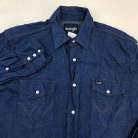 Wrangler Pearl Snap Shirt Men's Medium Long Sleeve Blue Chambray Casual Cotton