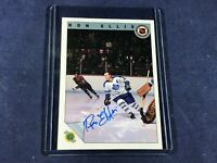 F3-92 HOCKEY CARD - RON ELLIS TORONTO MAPLE LEAFS - 1992 ULTIMATE - AUTOGRAPHED