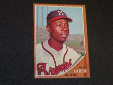 1962 Topps Hank Aaron # 320 Milwaukee Braves See Pics Below Description Super!!!