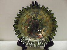 VINTAGE FOOTED WILD BLACKBERRY GREEN CARNIVAL GLASS DISH BOWL