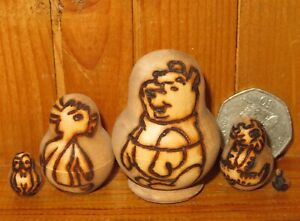 Pooh BEAR Rabbit Tigger Piglet Pyrography MINIATURE nesting Babushka dolls 5 ART