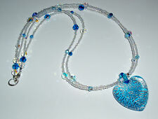 Silver Infused Aqua and Clear Murano Glass Heart Necklace