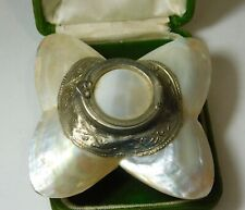 Victorian  Polished White MOP Mother of Pearls Sea Shell Silver Box Trinket