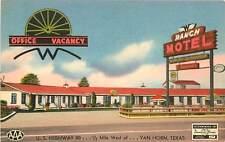 Texas, TX, Van Horn, Ranch Motel Linen Postcard