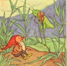 Scarce.! Grasshopper Insect Fiddles For Gnome ,Poem Ida Bohatta Blank Art Card