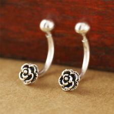 925 Sterling Silver Vintage Style Flower Navel Belly Ring Earrings women A1027