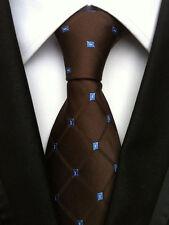 086KT NEW men silk neck tie brown blue diamonds waterproof wedding party ties