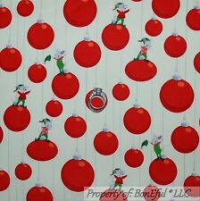 BonEful Fabric Cotton Quilt White Red Green Xmas Mouse Ornament Dot Stripe SCRAP