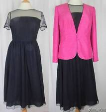 Jacques Vert Navy Monique Dress & Fuchsia Jacket NEW Size 14 Tagged at £308 (JW2