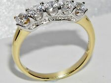 BEAUTIFUL 9 CT YELLOW GOLD & SILVER 1.00 CARAT 5 STONE ETERNITY RING - size R